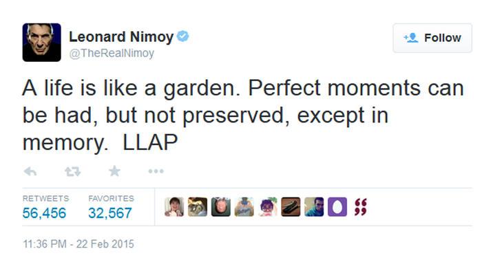 Último tuit de Leonard Nimoy antes de morir