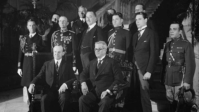 Los presidentes Calvin Coolidge y Gerardo Machado.