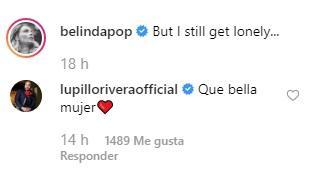 Lupillo comenta una foto de Belinda en Instagram