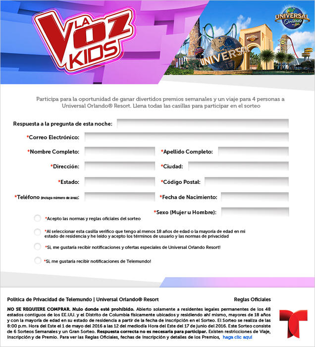 La Voz Kids Sweepstakes Page