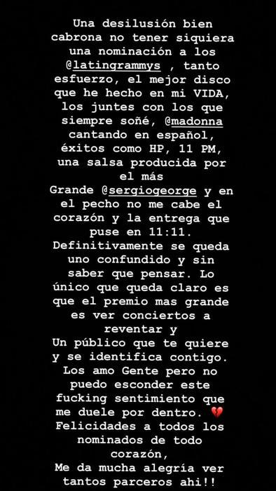 Maluma confiesa una desilusión