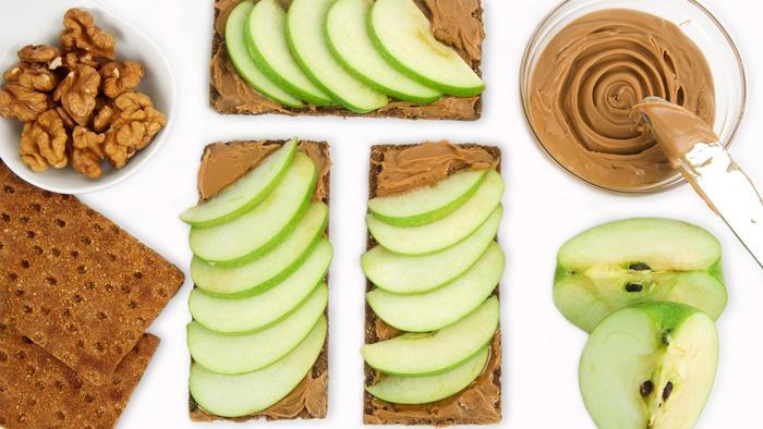 Snacks con mantequilla de maní