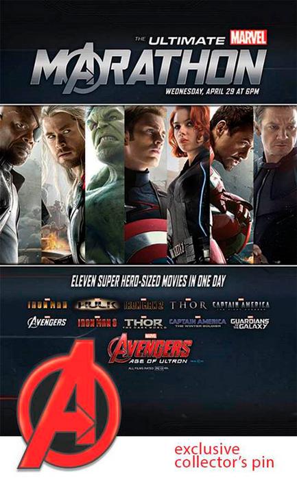Cartel del maratón de películas de Marvel