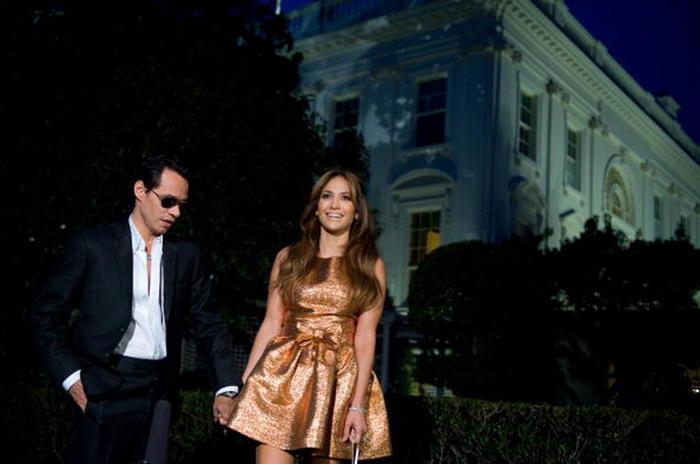 Marc Anthony y Jennifer Lopez en la Fiesta Latina en la Casa Blanca en el 2009