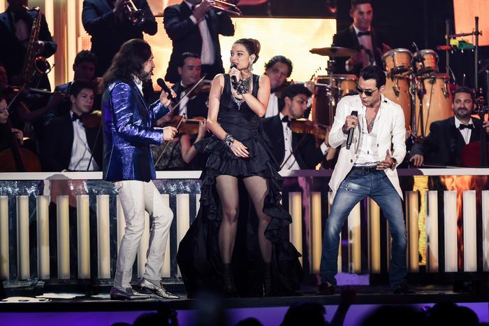 Marco Antonio Solís, Natalia Jimenez y Marc Anthony en Premios Billboard 2016