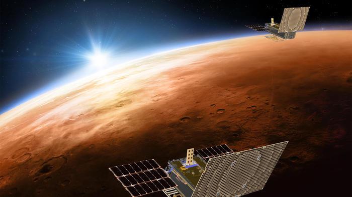 Esta ilustración muestra las naves Mars Cube One que acompañan a InSight