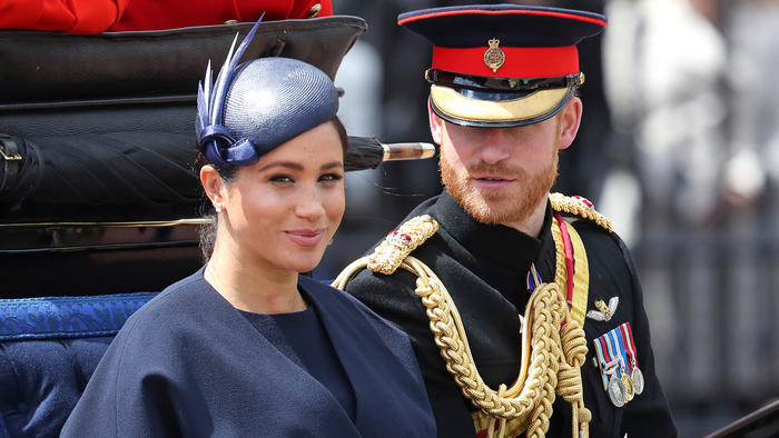 Meghan Markle y el príncipe Harry en el desfile Trooping the Colour 2019