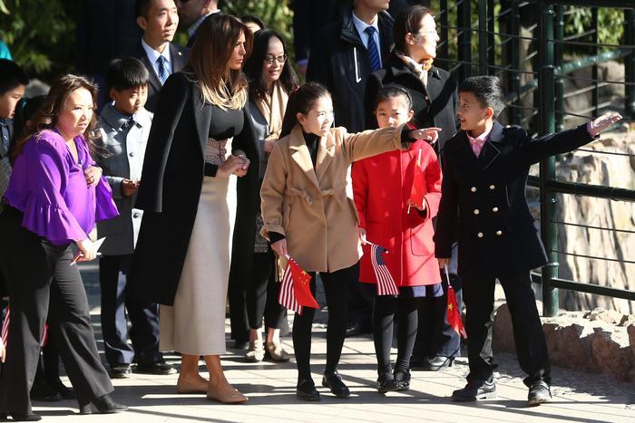 El presidente Donald Trump y la primera dama Melania Trump visitan China