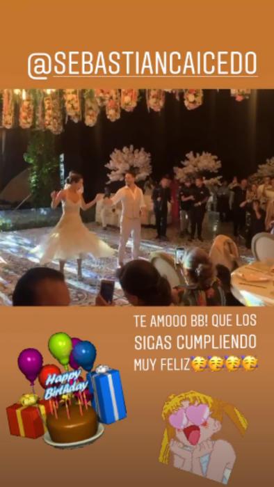 Mensaje de cumpleaños de Carmen Villalobos para Sebastián Caicedo