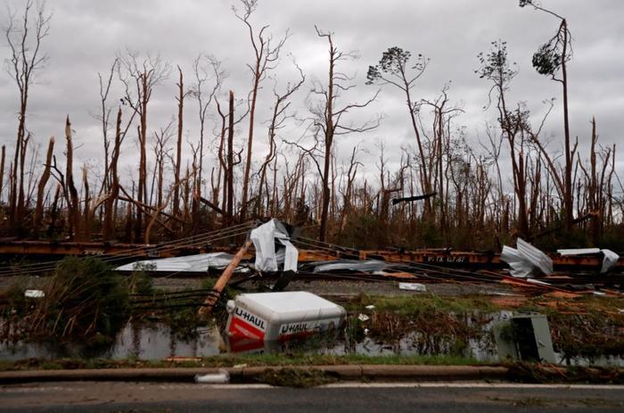 Arboles destrozados, vagones de tren descarrilados y un remolque hundido este miércoles tras el paso del huracán Michael en Panama City, Florida.