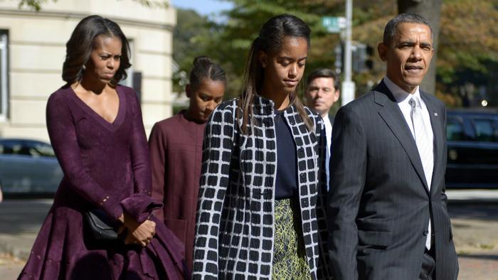 Michelle, Malia y Barack Obama