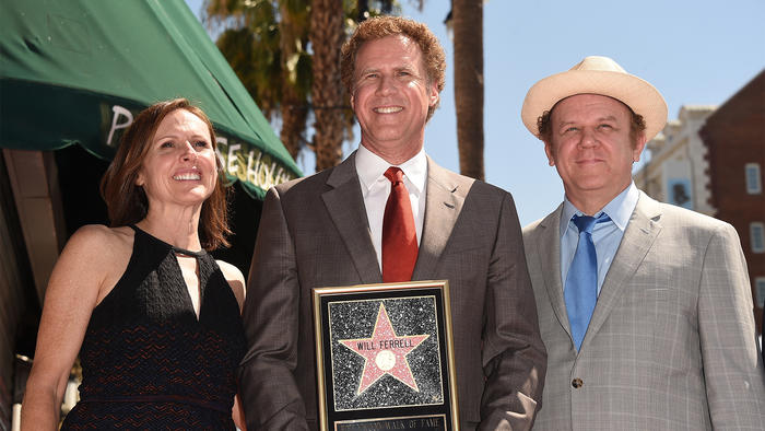 Molly Shannon, Will Ferrell y John C. Reilly en el paseo de la fama de Hollywood.