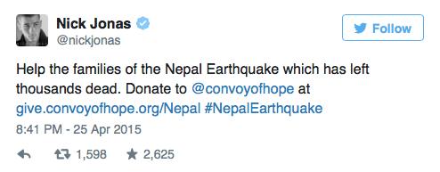 nick jonas demostrando un apoyo hacia los afectados del terremoto en nepal con un tweet