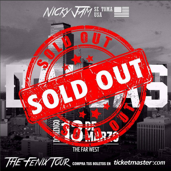 Nicky Jam Dallas Sold Out 2016 Fenix Tour