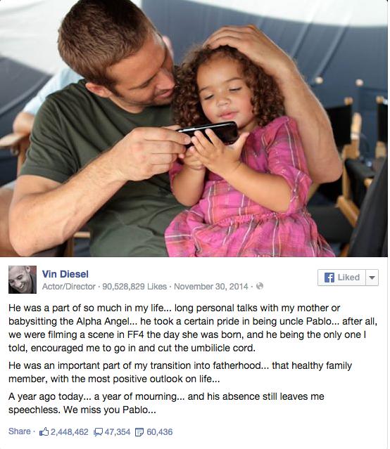 Paul Walker y la hija de Vin Diesel, Hania Riley.