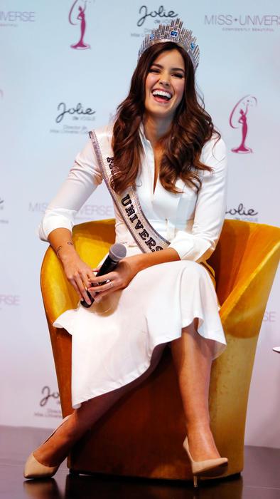Paulina Vega en una rueda de prensa en Colombia