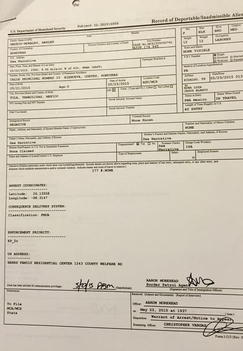 Documento del Departamento de Seguridad Nacional