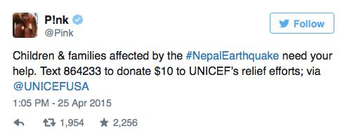 pink demuestra apoyo hacia terremoto de nepal con tweet