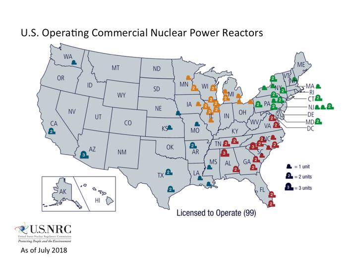 Mapa de centrales nucleares.