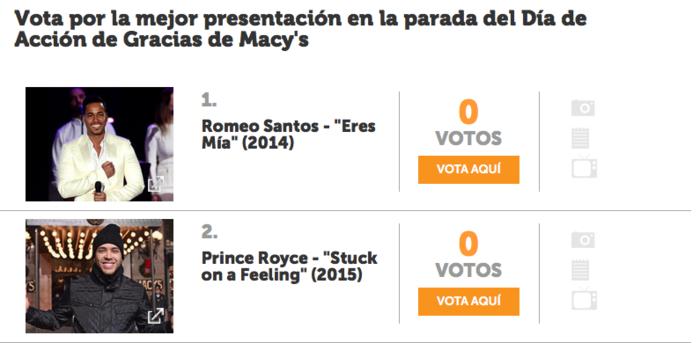 votación prince royce vs. romeo santos