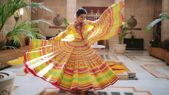 Priyanka Chopra en la ceremonia previa a su boda