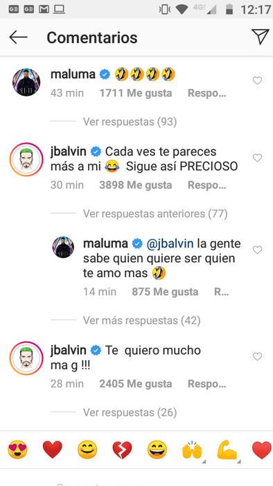 Reacción de J Balvin a foto de Maluma