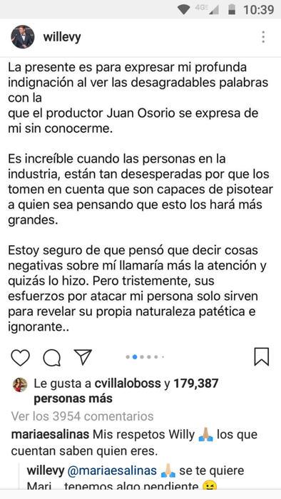 Carta de William Levy a Juan Osorio