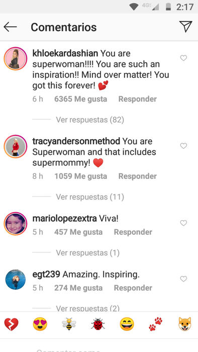 Reacciones a la foto de Jennifer Lopez