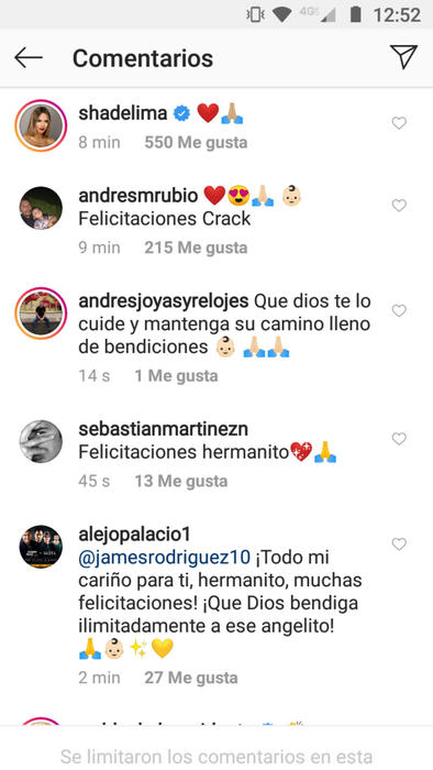 Reacciones al bebé de James Rodríguez