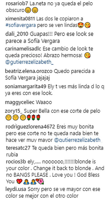 Reacciones al cambio de look de Elizabeth Gutiérrez