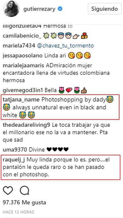 Reacciones a foto de Ariadna Gutiérrez