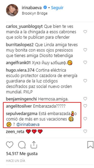 Reacciones a la foto de la pancita de Irina Baeva