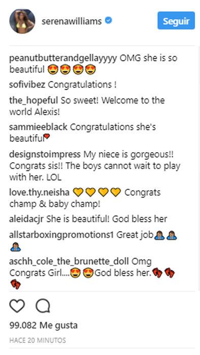 Reacciones al post de Serena Williams
