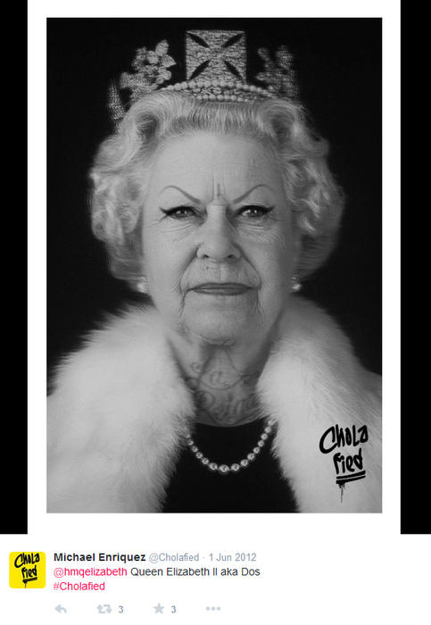 Reina Isabel II maquillada como chola