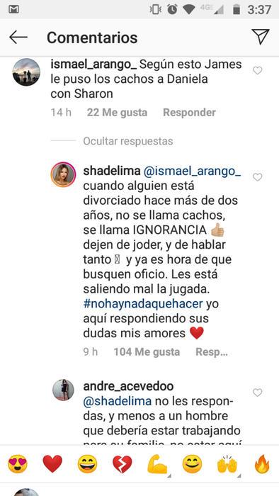 Respuesta de Shannon de Lima a comentario en Instagram