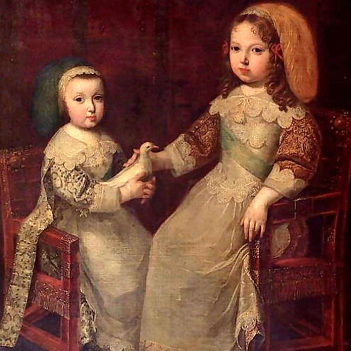 Rey Luis XIV y su hermano Felipe de Orléans