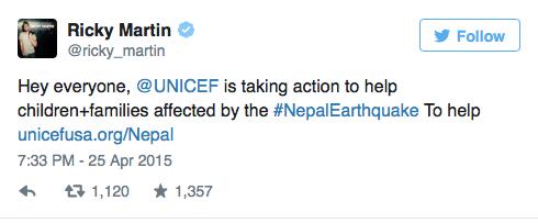 ricky martin demostrando apoyo con tweet hacia el terremoto de nepal