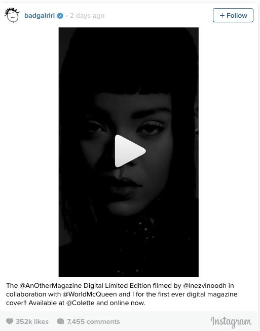 Rihanna publica video en Instagram posando muy sexy