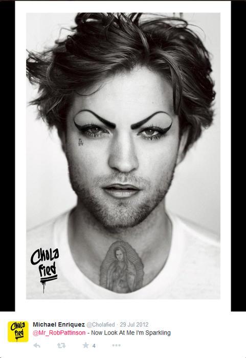 Robert Pattinson maquillado como chola