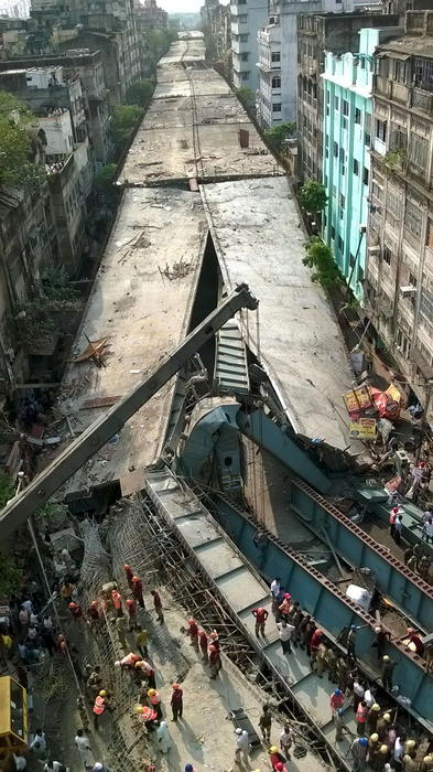 A general view of the collapsed flyover in Kolkata