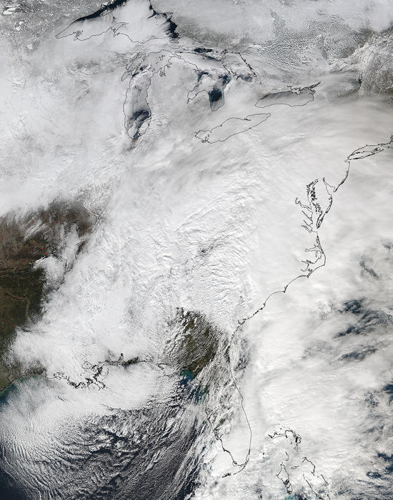 a winter storm affecting the u.s. east coast is seen in a noaa image from the suomi npp satellite