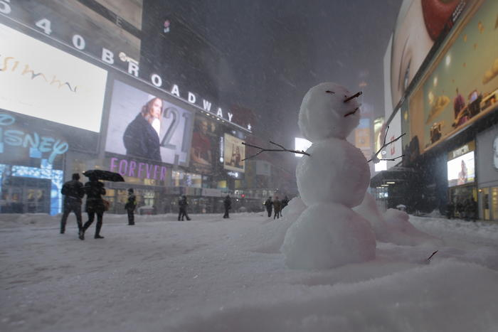 A snowman is pictured in Times Square in the Manhattan borough of New York