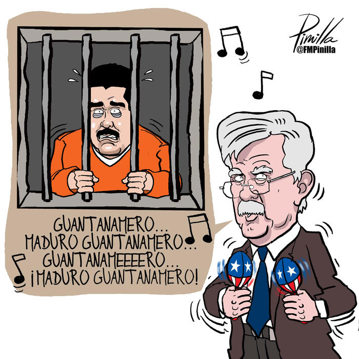 A cartoon caricature of U.S. National Security Advisor John Bolton by Venezuelan cartoonist Fernando Pinilla is seen in this photo that now hangs on the wall of Bolton's office in Washington