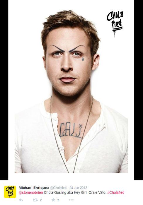 Ryan Gosling maquillado como chola