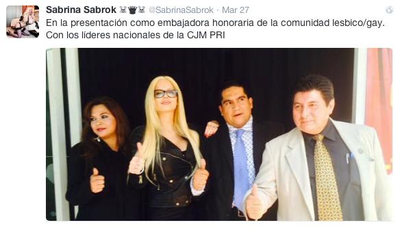 Sabrina Sabrok en evento del PRI