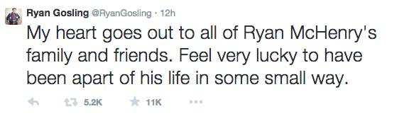 El actor también mandó un conmovedor mensaje a través de su cuenta de Twitter.