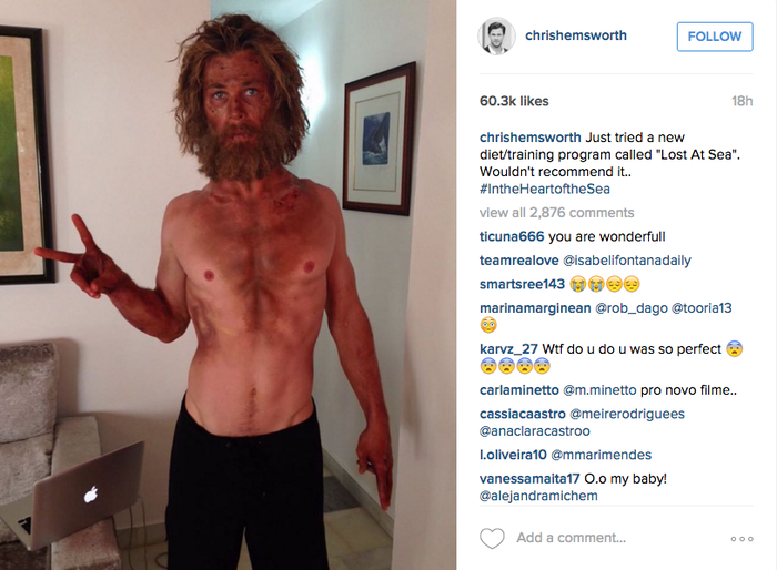Mira lo irreconocible que está Chris Hemsworth