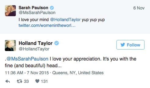 Tweets de Holland Taylor y Sarah Paulson