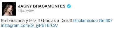 Twitt de Jacky Bracamontes