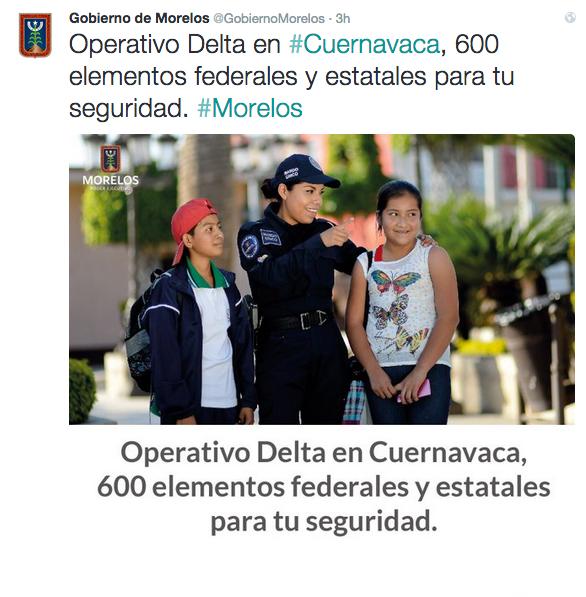 Tuit de la Gobernación de Morelos